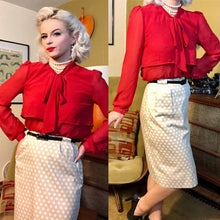 Load image into Gallery viewer, Vintage 1950s Skirt • White Ivory Polka Dot Wiggle Skirt • Small