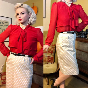 Vintage 1950s Skirt • White Ivory Polka Dot Wiggle Skirt • Small