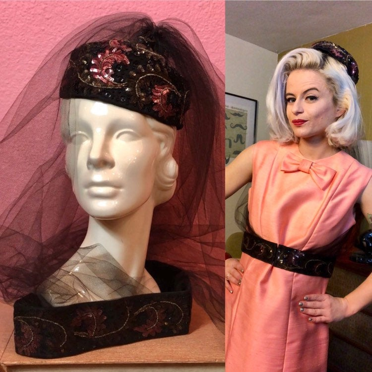 Vintage 1960s Hat • Designer Pink Sequin Pillbox Hat with Attached Veil and Belt (Deadstock)