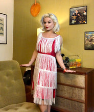 Load image into Gallery viewer, Vintage 1960s Dress • Fucshia Hot Pink Wiggle Dress with White Fringe & Sequins • Medium