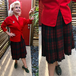 Vintage 1950s Skirt • Red & Forest Green Plaid and Pleated Wool Skirt • Small