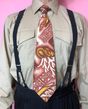 Load image into Gallery viewer, Vintage 1960s Tie • Tropical Print Barkcloth Tiki Necktie