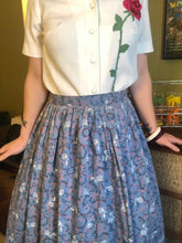 Load image into Gallery viewer, Vintage 1950s Skirt • Blue Novelty Rose and Thorns Print Circle Skirt • Medium