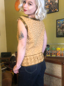 Vintage 1960s Blouse • Gold Heavily Beaded Swirl Top • Large