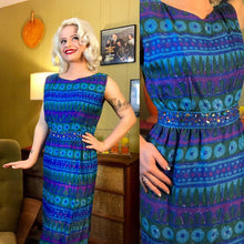 Load image into Gallery viewer, Vintage 1960s Dress • Blue Geometic Print Wiggle Dress with Jeweled Waist • Small