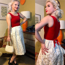 Load image into Gallery viewer, Vintage 1960s Dress • Red Velvet & Ivory Brocade Two Tone Cocktail Dress • Extra Small