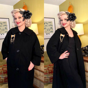 Vintage 1950s Coat • Black Cashmere Overcoat • Large