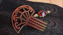 Load image into Gallery viewer, Antique Celluloid Hair Comb • Spider Web Tortise Shell Ladies Hair Comb with Red Jewels
