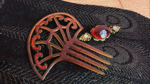 Antique Celluloid Hair Comb • Spider Web Tortise Shell Ladies Hair Comb with Red Jewels