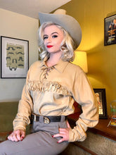 Load image into Gallery viewer, Vintage 1950s Shirt • Tan Suede Fringe Western Wear Shirt by Corral Sportswear • Medium