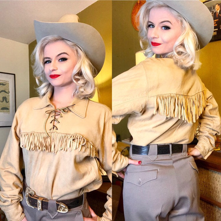 Vintage 1950s Shirt • Tan Suede Fringe Western Wear Shirt by Corral Sportswear • Medium