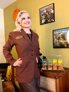 Vintage 1940s Blazer • Milk Chocolate Brown Wool Jacket • Medium