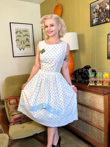 Vintage 1950s Dress • Light Blue Polka Dot Cotton Day Dress • Small