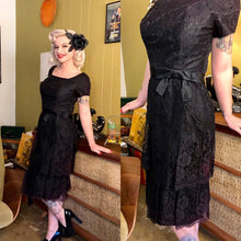 Load image into Gallery viewer, Vintage 1960s Dress • Black Lace Ruffled Party Dress • Small