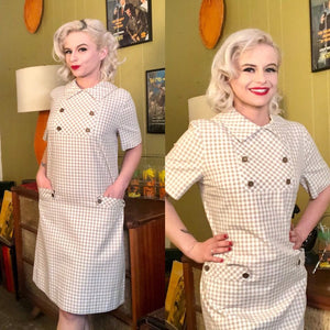 Vintage 1950s Dress • White & Brown Houndstooth Dress with Pockets • Large