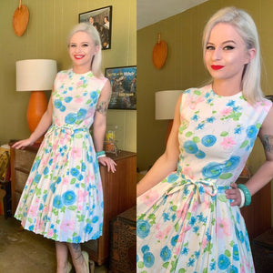 Vintage 1950s/1960s Dress • Light Blue Floral Day Dress with Matching Sash • Small