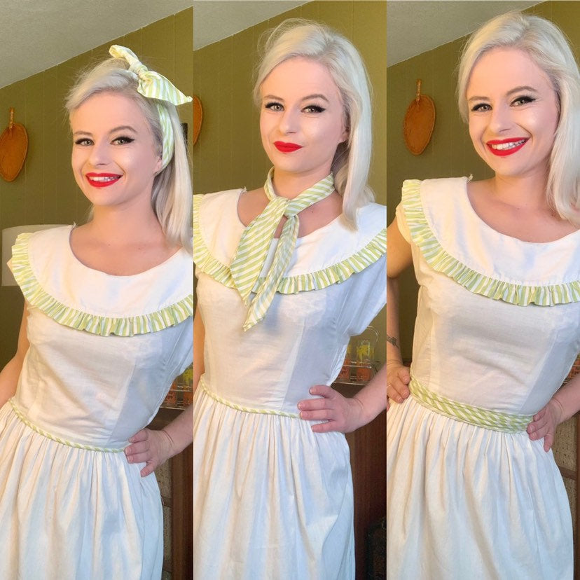 Vintage 1950s Dress • White Cotton & Green Striped Day Dress with Matching Scarf • Medium
