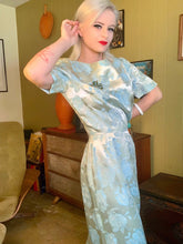 Load image into Gallery viewer, Vintage 1960s Dress • Icy Blue Floral Sheath Wiggle Dress • Medium