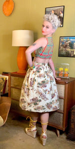 Vintage 1950s Skirt • Western Novelty Print Skirt • Extra Small