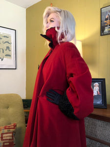 Vintage 1940s Coat • Cherry Red Wool Trimmed Forstmann Wool Swing Coat • Large