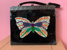 Load image into Gallery viewer, Vintage 1960s Handbag • Patent Leather Butterfly Sequin & Rhinestone Purse
