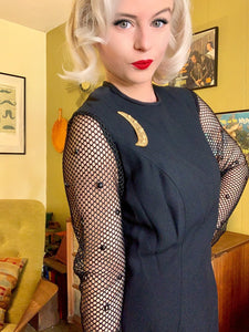 Vintage 1960s Dress • Fishnet Sleeve Sue Leslie Designer Bombshell Wiggle Dress • Medium