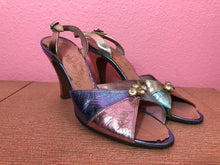 Load image into Gallery viewer, Vintage 1950s Heels • Four Color Block Metallic Leather with Rhinestone Slingbacks • 7.5 N