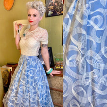 Load image into Gallery viewer, Vintage 1950s Skirt • Light Blue & White Swirl Circle Skirt • Medium