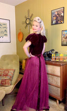 Load image into Gallery viewer, Vintage 1930s Dress • Burgundy Velvet Princess Sleeve & Tulle Gown • Large