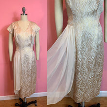 Load image into Gallery viewer, Vintage 1950s Dress • Gold Lurex Bombshell Wiggle Dress with White Chiffon Hip Swag • Large