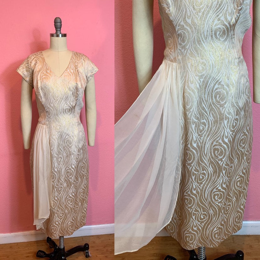 Vintage 1950s Dress • Gold Lurex Bombshell Wiggle Dress with White Chiffon Hip Swag • Large