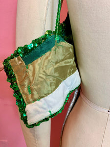 Vintage 1940s/1950s Top • Green Sequin Mermaid Style Costume Crop Top • Small