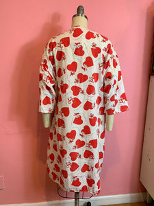 Vintage 1950s Pajama Top • Cotton Novelty Print Naughty Monkey Heart Nughr Shirt • Medium