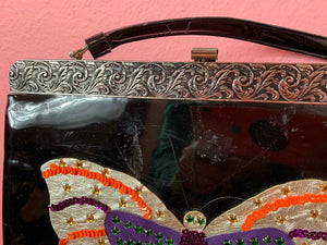Vintage 1960s Handbag • Patent Leather Butterfly Sequin & Rhinestone Purse