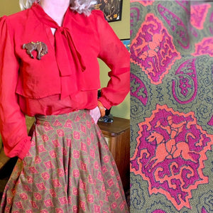 Vintage 1950s Skirt • Horse Novelty Print Paisley Circle Skirt with Pocket • Medium