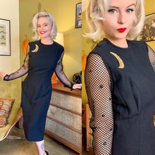 Load image into Gallery viewer, Vintage 1960s Dress • Fishnet Sleeve Sue Leslie Designer Bombshell Wiggle Dress • Medium