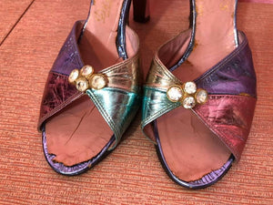 Vintage 1950s Heels • Four Color Block Metallic Leather with Rhinestone Slingbacks • 7.5 N