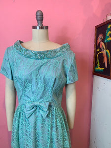 Vintage 1960s Dress • Designer Emma Domb Teal Sequined Floor Legth Gown • Large