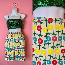 Load image into Gallery viewer, Vintage 1960s Shorts • White & Bright Pop Art Floral Print Linen High Waist Shorts • Small