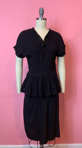 Vintage 1940s Dress • Black Crepe Peplum Dress with Sequins • Extra Small