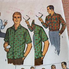 Load image into Gallery viewer, Vintage 1950s Pattern • Mid-Century Men's Short or Long Sleeve Shirt Pattern • Small