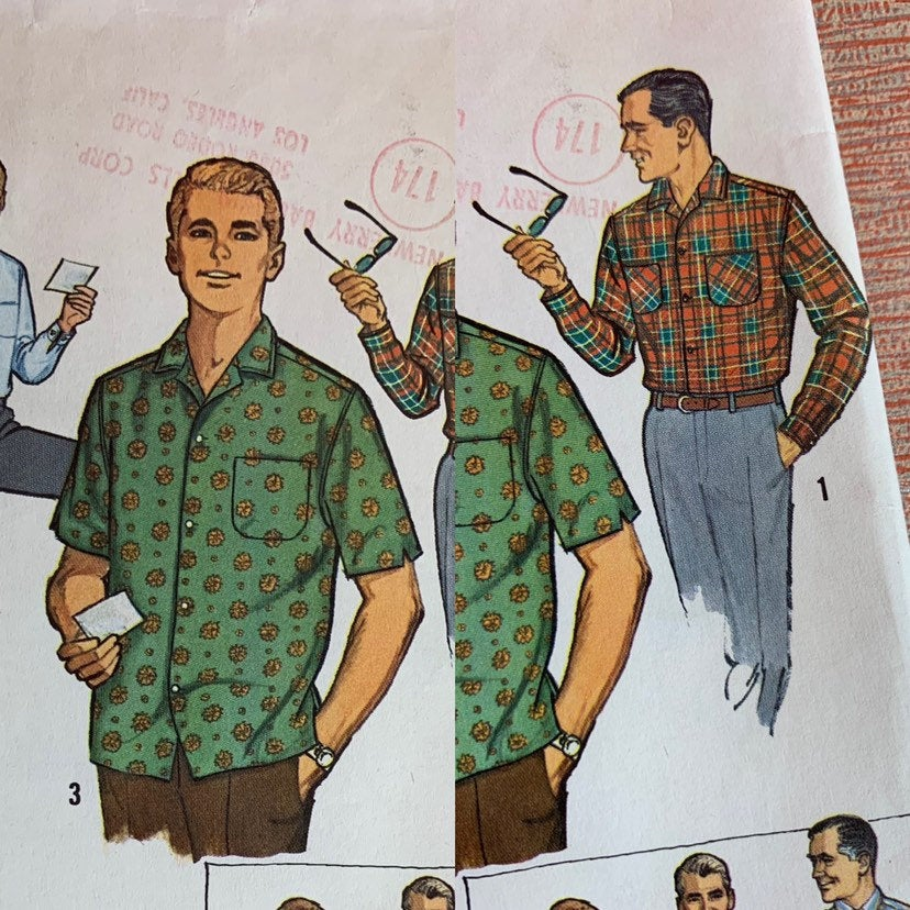 Vintage 1950s Pattern • Mid-Century Men's Short or Long Sleeve Shirt Pattern • Small