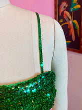 Load image into Gallery viewer, Vintage 1940s/1950s Top • Green Sequin Mermaid Style Costume Crop Top • Small