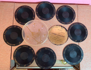 Vintage 1950s Coasters • Vinyl Record Coaster Set with Case • Set of 8