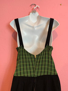 Vintage 1940s Swimsuit • Black & Green Plaid Belted Bathing Suit • Extra Large