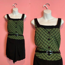 Load image into Gallery viewer, Vintage 1940s Swimsuit • Black & Green Plaid Belted Bathing Suit • Extra Large