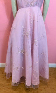 Vintage 1950s/1960s Dress • Etherial Pink Embroidered Tulle Cocktail Dress • Extra Large
