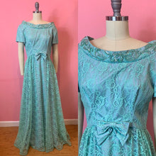 Load image into Gallery viewer, Vintage 1960s Dress • Designer Emma Domb Teal Sequined Floor Legth Gown • Large