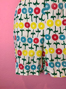 Vintage 1960s Shorts • White & Bright Pop Art Floral Print Linen High Waist Shorts • Small