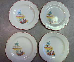 Vintage 1930s Plates • Homer Laughlin Mexicana Desert / Appetizer Plates • Set of 4